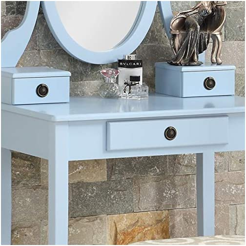 Roundhill Furniture Moniys Wood Moniya Makeup Vanity Table and Stool Set, Gold