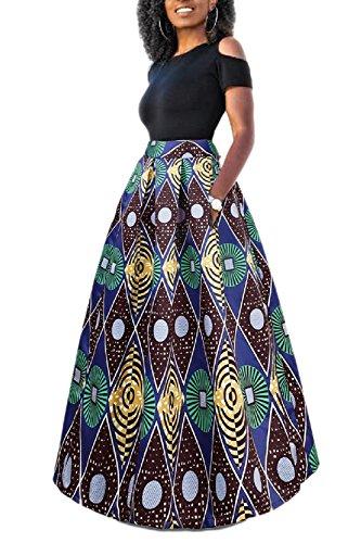 Femme Robe Yacun Traditionnelle Pièces Jupe Bluered Imprimé Floral Deux Longue Africaine wdAIqA