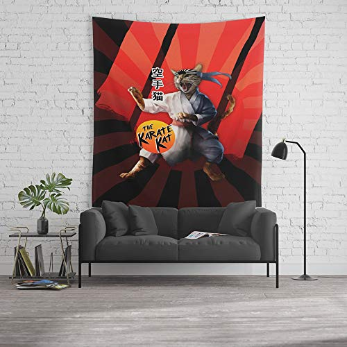 Society6 Wall Tapestry, Size Large: 88'' x 104'', Karate Kat - Master Meowgi (80s Movie Cat Parody) by thisonashirt by Society6