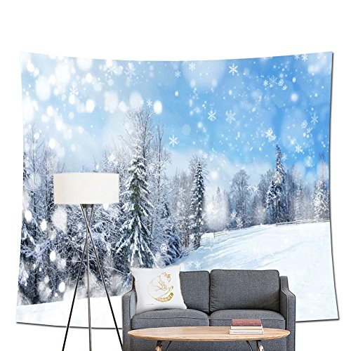 (POPPAP Winter Fairy Picture Wall Tapestry, White Snowflake Snow Forest On Snowy Slopes Christmas Scene Digital Print Decoration Tapestry Holiday Party Background(79