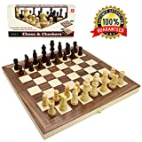 "Wooden Chess Set for Kids and Adults, Travel Chess and Checkers Set with Folding Chess Board  Games Set Interior for Storage (12"" x 12"")"