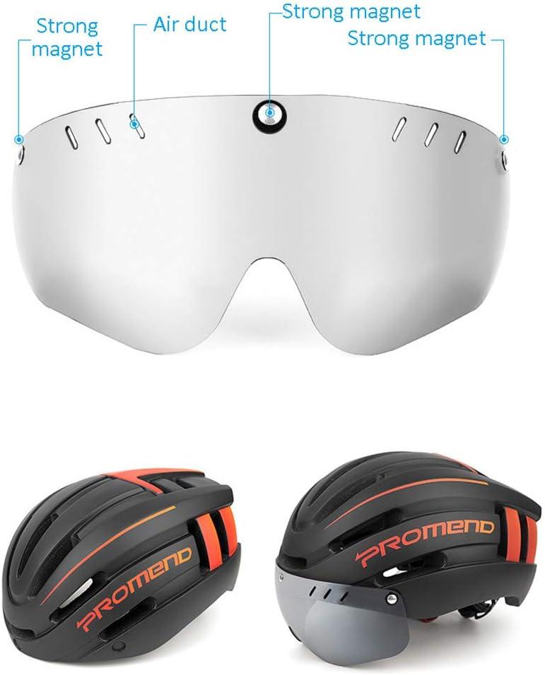 Mit Nachladbare USB-R/ücklicht Und Abnehmbarer Magnetbrille Und Removable Futter Fahrradhelm F/ür M/änner Frauen Stra/ße MTB Radfahren,Orange VANURX Adult Fahrradhelm