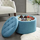 Madison Park FPF18-0211 Sasha Round Ottoman with Shoe Holder Insert