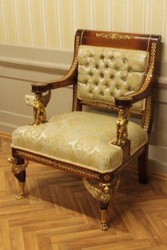 Barock Armlehner Rokoko Stuhl Antik Stil MoCh0185Go