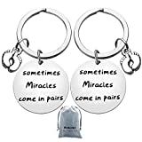 Twins Mom Keychain Gifts Sometimes Miracles Come in Pairs Keychain,Baby Footprints Jewelry Keychain,Cute Baby Announcement Pregnancy New Mom Gift