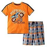 Little Bitty Little Boy Short Set Summer Cotton Clothing Set Short Set Orange 6T