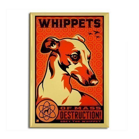 Dog Retro Fridge Magnet - Whippet