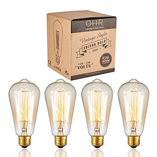 Ohr Lighting Edison Incandescent Light Bulb Vintage 40 Watt Amber Warm Dimmable Antique Squirrel Cage E26 Base 4 Pack