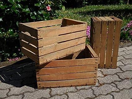 Juego de 3 cajas de madera de haya vintage para muebles, estantes y librerías,
