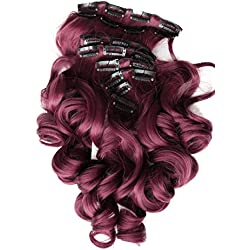 """PRETTYSHOP XXL Set 8 pcs 24"""" Clip In Hair Extensions Full Head Hairpiece Wavy Curled Or Straight Heat-Resisting Div. Colors (bordeaux red curled #118 CES10-1)"""