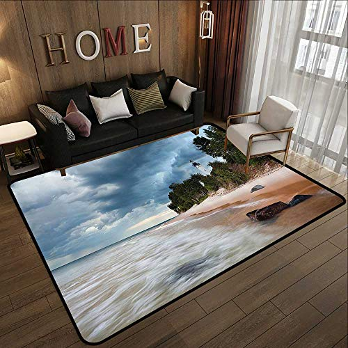 Kitchen Rugs,Lighthouse Decor Collection,Au Sable Lighthouse in Pictured Rock National Lakeshore Michigan USA Picture,Cloudy Blue Ivo 63