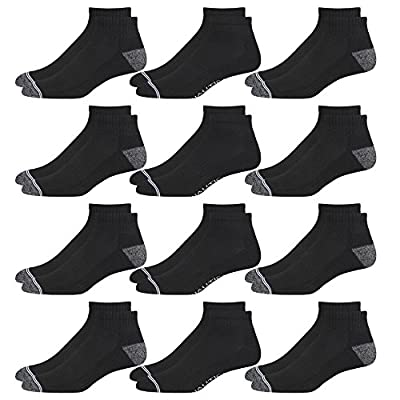 Nautica Mens Stretch Comfort Cushioned Athletic Quarter Socks With Moisture Control (12 Pack)