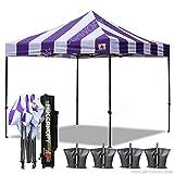Cheap ABCCANOPY Deluxe 10×10 Ez Pop Up Canopy Carnival Canopy Popcorn Cotton Candy Vending Tent (stripe purple/white)