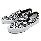 cozyshoeson Men Love Black and White Skull Canvas Slip-On Shoes Sneaker (10 D(M) US)