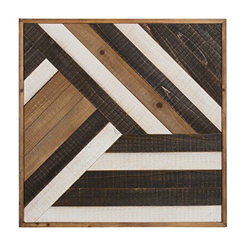 Ballez Shiplap Wood Plank Art, Black, White and Rustic Brown