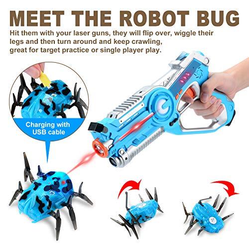 Veken Laser Tag Set with 4 Pack Infrared Laser Tag Guns 2 Robot Bug 1 Carrying Case for Kids Multiplayer Indoor Outdoor Game - Infrared 0.9Mw by Veken (Image #4)