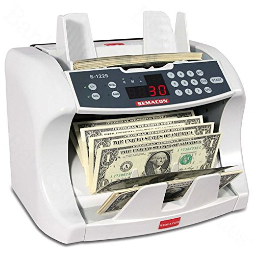 (Semacon S-1225 High-Speed Bank Grade Currency Counter with Ultraviolet and Magnetic Counterfeit Detection, 800/1200/1600 Notes per Minute Counting Speed, Batching: 10 Keys/1-999 Range, 110V / 60Hz)