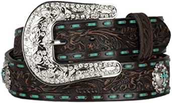 Nocona Western Belt Womens Embroidered Concho Cross Brown N3426002