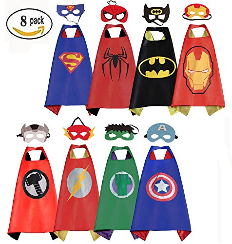 Superhero Costumes - Mizzuco Comics Cartoon Dress up Costumes Satin Capes with Felt Masks for Boys (Set of 8)