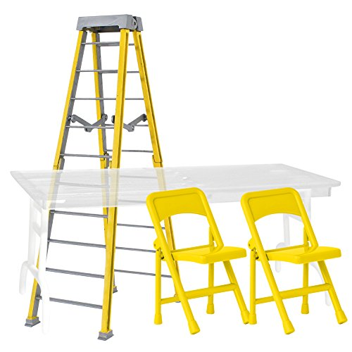 Ultimate Ladder, Table and Chairs Yellow Playset for WWE Wrestling Action Figures by Figures Toy Company