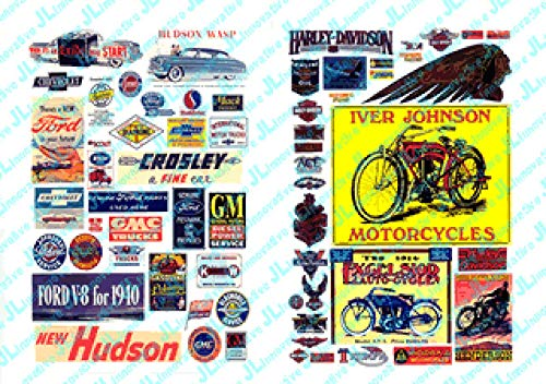 HO Scale Vintage Motorcycle & Auto Posters & Signs -- 1900-1960s