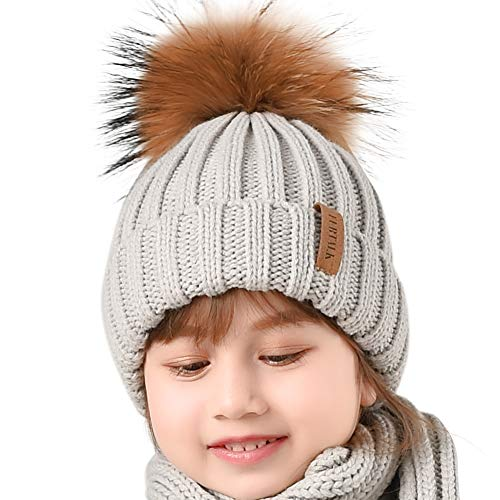FURTALK Winter Knit Hat Real Raccoon Fur Pom Pom Womens Girl