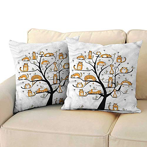 RuppertTextile Cat Lover Personalized Pillowcase Family Tree Cats Branches Cushion W17 x L17 ()