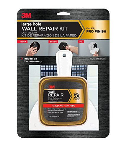 3M Large Hole Wall Repair Kit with 12 fl. oz Compound,  Self-Adhesive Back Plate, Putty Knife and Sanding Pad (Cover Plate For Wall Holes In Drywall)