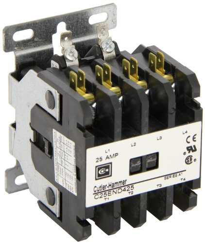 Coil 480vac Contactor Pole Single (Eaton C25END425T Definite Purpose Contactor, 50mm, 4 Poles, Screw/Pressure Plate, Quick Connect Side By Side Terminals, 25A Current Rating, 2 Max HP Single Phase at 115V, 7.5 Max HP Three Phase at 230V, 10 Max HP Three Phase at 480V, 24VAC Coil Voltage)