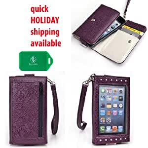Xposed Universal wallet phone case with front view window in Purple for Motorola DEFY XT XT556