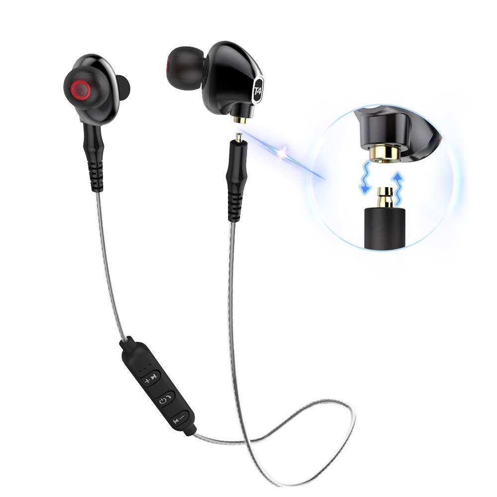 Qidoou Bluetooth Earphones Wireless Sports Earbuds T4 Compatible Smartphones, in-Ear Headphones with Build-in Mic Detachable Head Two Ways Connection Support Sweatproof for Running Black