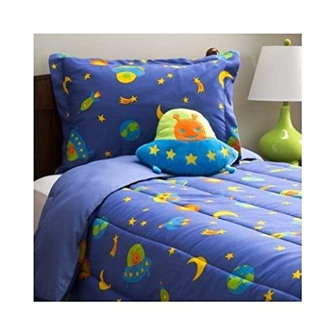 Boys Children's Blue Alien 4-piece Comforter Bedding Set with Pillow Includes Scented Candle Tarts (Rocket Twin Bedding)