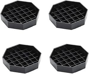 "Happy Reunion Drip Trays 4.5"" Coffee Countertop Octagon Drip Tray Black Plastic Coffee Drip Tray With Honeycomb Grid, Pack of 4 (4 Pcs 4.5"")"