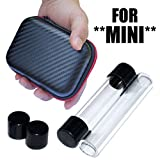 2 x MINI Twisty Glass Tubes with Rubber Caps & Zipper Pouch Case