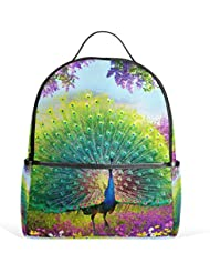 JSTEL Peacock Feather School Backpack 4th 5th 6th Grade for Boys Teen Girls Kids