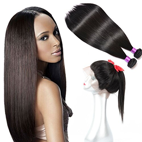FASHION-QUEEN-Brazilian-Virgin-Human-hair-Bundles-2pcs-360-Lace-Frontal-With-Bundles-Brazilian-Straight-Hair-With-Frontal-Closure-22x4x2