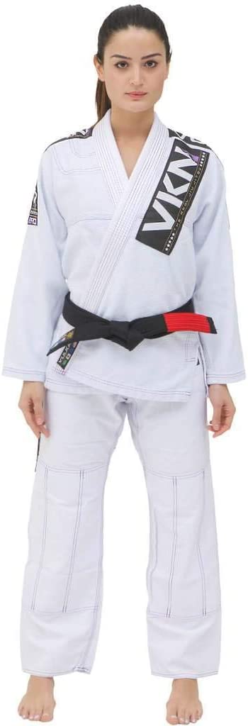 Vulkan Fight柔術会社、女性のBJJ SW PRO lIGHT GI for Martial Artsスポーツ、ホワイトとパープルパッチ  A3
