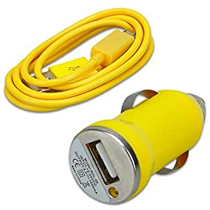 Micro USB Cable + Car Charger Adapter for Samsung Galaxy S4 S3 S2 Note 2 /HTC/ LG/ SONY/ NOKIA/Motorola and Other Micro USB Phone (Yellow)