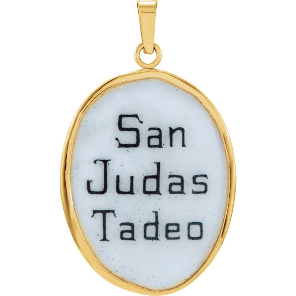 Jude Hand-Painted Porcelain Medal 14K Yellow Gold 25x19.5mm St