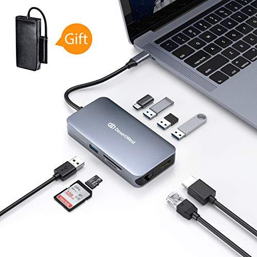 USB C Adapter, USB C HUB 9-In-1 umfasst RJ45 Port, 4K HDMI Port, USB C...