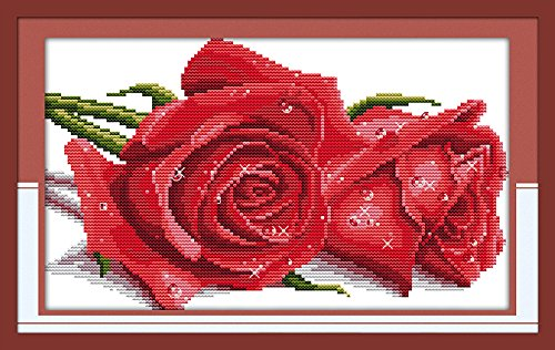 "Good Value Cross Stitch Kits Beginners Kids Advanced - Rose Lover 11 CT 17""X 10"", DIY Handmade Needlework Set Cross-Stitching Accurate Stamped Patterns Embroidery Home Decoration Frameless (Red)"