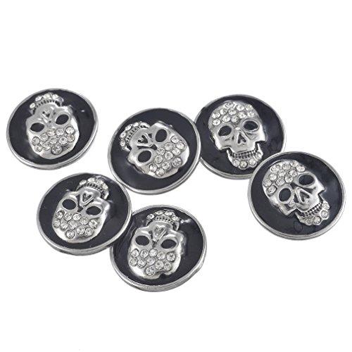 Loweryeah 1PC Snap button White Rhinestone Black Enamel Skull (Skull Snap Black)