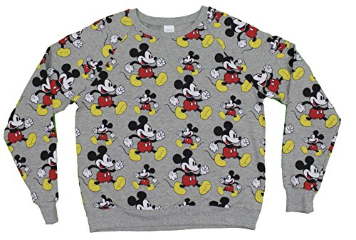 Disney Mickey Mouse Women's Shirt All Over Print Grey (Medium)