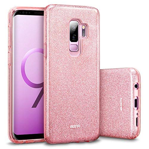ESR Makeup Glitter Case Compatible for The Samsung Galaxy S9+ Plus, Glitter Sparkle Bling Case Protective Cover [Three Layer][Supports Wireless Charging] for Galaxy S9+ Plus, Pink(Released in 2018)