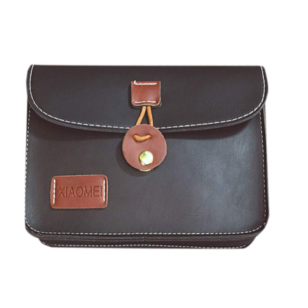 Randolly Women Bag,Circular Buckle Retro Fashion Simple Single-Shoulder Bag Messenger Bag Black