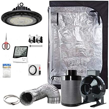 BloomGrow 300W Full Spectrum UFO LED Light 36 x20 x63 Grow Tent 4 Inline Fan Filter Duct Combo Hangers Hygrometer Shears 24-hour Timer Trellis Netting Indoor Grow Tent Complete Kit