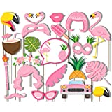 Aneboom Flamingo Party Supplies - Pink Flamingo Tropical Summer Party Photo Booth Props Kit - 20 Count