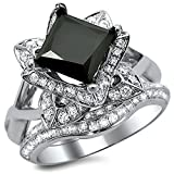 Smjewels 2.5Ct Black Princess Cut Lotus Flower CZ Diamond Engagement Ring Set In White Gold Fn