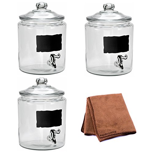Anchor Hocking 2-Gallon Heritage Hill Beverage Dispenser with Chalkboard Decoration, Set of 3 with Dish Scrubber Cloth by Anchor Hockíng