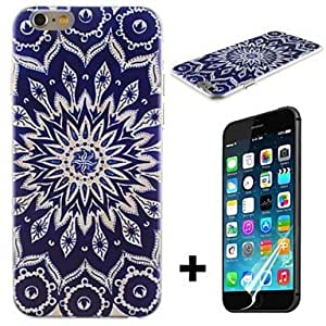 PEACH Blue Sun Flowers Pattern Hard with Screen Protector Cover for iPhone 6 Plus